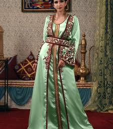 Green Embroidered Satin Islamic Kaftans