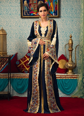 Blue Embroidered Brasso Islamic Kaftans