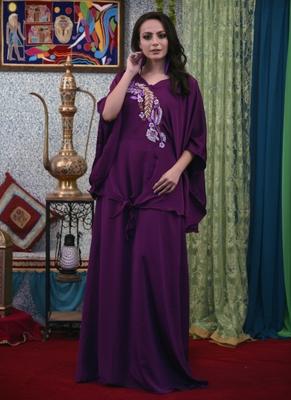 Violet Embroidered Crepe Islamic Kaftans