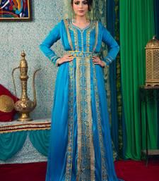 Blue Embroidered Crepe Islamic Kaftans