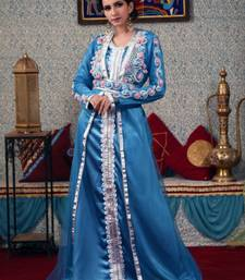 Turquoise embroidered silk blend islamic-kaftans