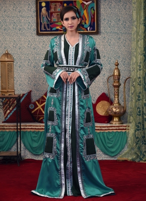 Sea Green Embroidered Silk Blend Islamic Kaftans