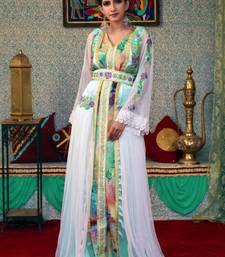 Green embroidered silk blend islamic-kaftans