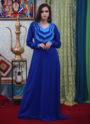 Blue embroidered crepe islamic-kaftans
