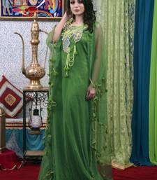 Green Embroidered Silk Blend Islamic Kaftans