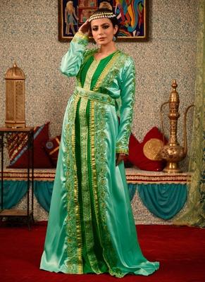 Green Embroidered Silk Blend Islamic Kaftans
