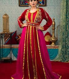 Maroon embroidered velvet islamic-kaftans