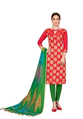 Peach Woven Banarasi Silk Salwar