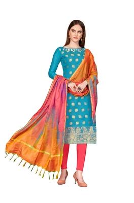 Sky-blue woven banarasi silk salwar