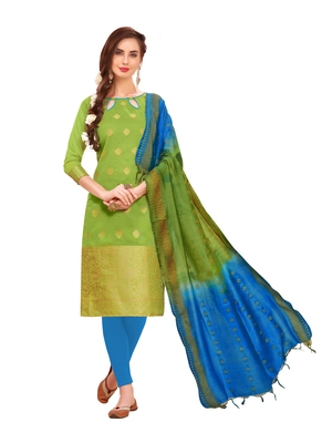 Green Woven Banarasi Silk Salwar