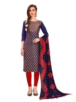 Navy-Blue Woven Banarasi Silk Salwar