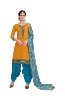 cd4bcc1ff5 Yellow embroidered cotton salwar