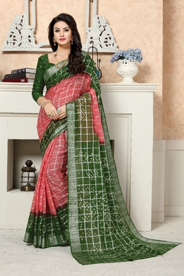 Mehendi Printed Cotton Saree With Blouse