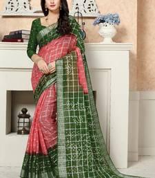 Mehendi printed cotton saree with blouse