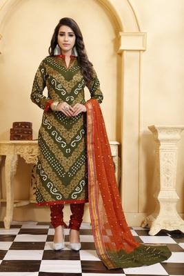 Green Bandhej Banarasi Cotton Salwar