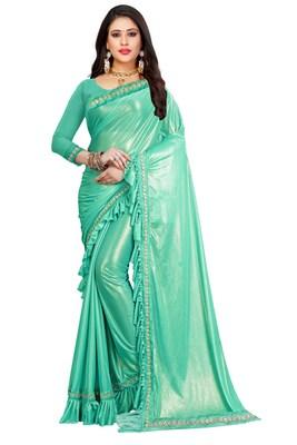 Cyan plain lycra saree with blouse