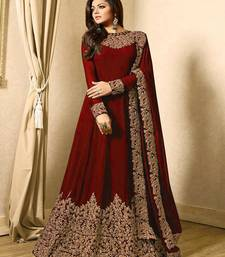 Maroon embroidered faux georgette semi stitched Anarkali