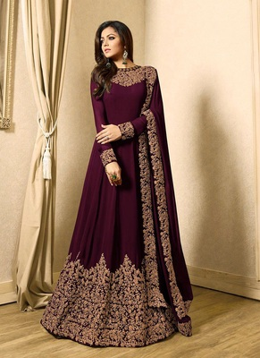 Purple embroidered faux georgette Anarkali suit