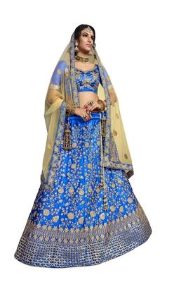 Blue Embroidered Satin Semi Stitched Lehenga