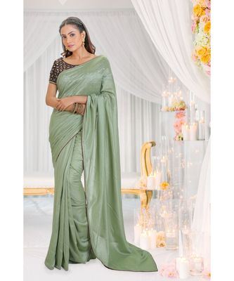 green embroidered art silk saree with blouse