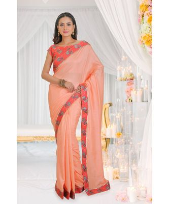 peach embroidered art silk saree with blouse