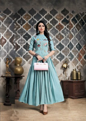 Women's Light Blue Khadi Slub Fancy Designer Kurtis