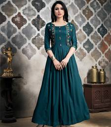 Women's Teal Blue Khadi Slub Wonderful Designer Kurtis