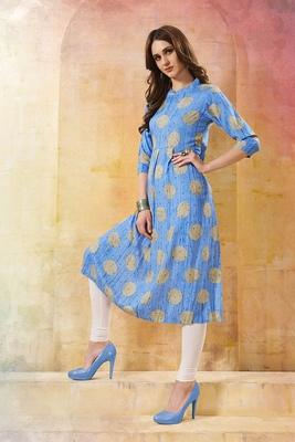 Women's Sky Blue Rayon Fancy Designer Kurtis