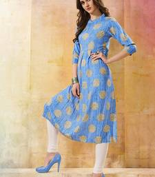 Women's Sky Blue Rayon Fancy Designer Kurtis