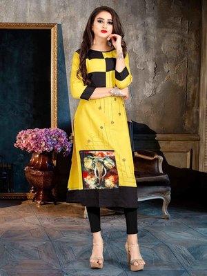 Women's Yellow & Black Rayon Classy Designer Kurtis