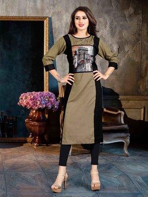 Women's Grey & Black Rayon Fancy Designer Kurtis
