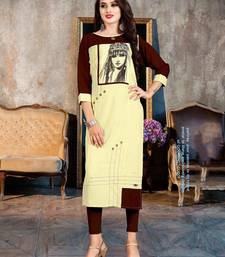 Women's Cream & Brown Rayon Wonderful Designer Kurtis