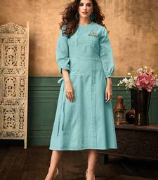 Women's Sky Blue Satin Cotton Amzing Designer Kurtis
