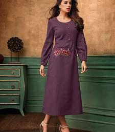 Women's Purple Satin Cotton Wonderful Designer Kurtis