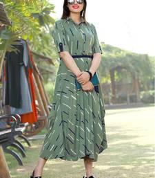 Women's Olive Green Rayon Dazzling Designer Kurtis