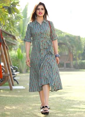 Women's Grey Rayon Classy Designer Kurtis