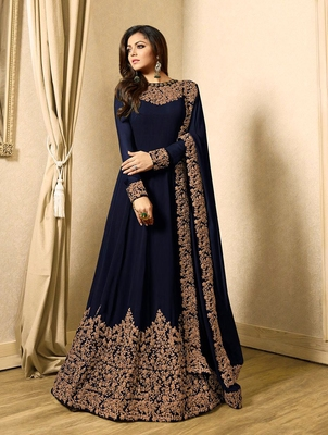 Blue embroidered faux georgette anarkali