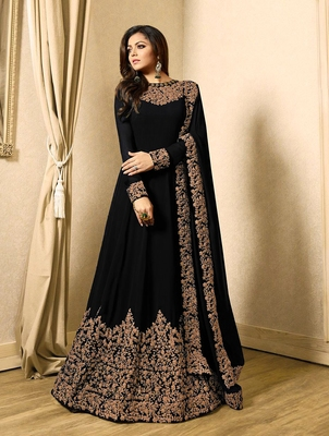Black embroidered faux georgette anarakali with dupatta