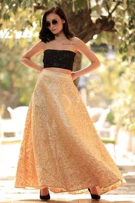 BEIGE GOLDEN EMBROIDERED FLAIRED LONG SKIRT