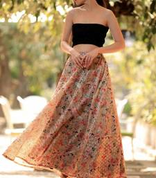 EYELET DIGITAL PRINTED FLAIRED LONG SKIRT