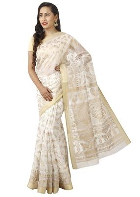 White printed cotton saree with blouse