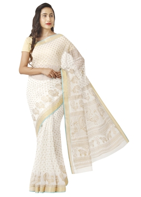 White printed cotton saree with blouse