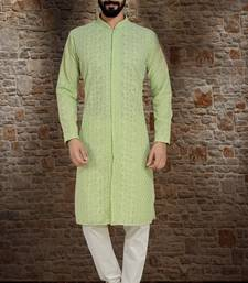 Green Stylish And  Fancy Lucknowi Embroidery Kurta Pyjama
