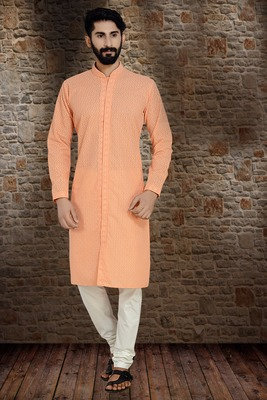 Peach Stylish And  Fancy Lucknowi Embroidery Kurta Pyjama