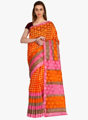 CLASSICATE From The House Of The Chennai Silks Women's Orange Bhagalpuri Saree With Blouse