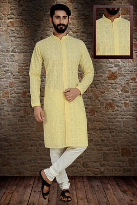 Yellow Stylish And  Fancy Lucknowi Embroidery Kurta Pyjama