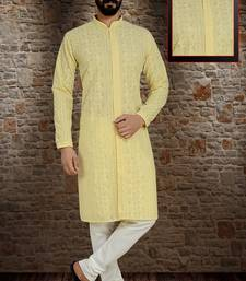 yellow stylish and  fancy lucknowi embroidery kurta pyjama
