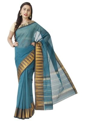 Dark blue woven cotton saree with blouse