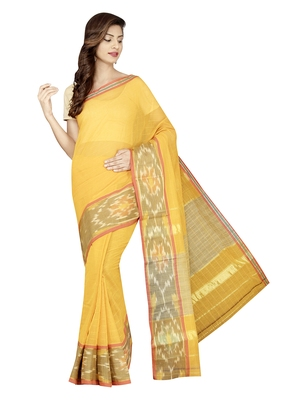 Gold woven cotton saree with blouse