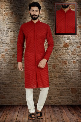 Red Stylish And  Fancy Embroidery Kurta Pyjama